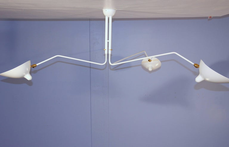 Three-Arm Ceiling Lamp by Serge Mouille For Sale at 1stdibs