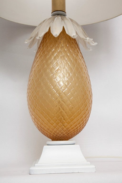 1940s Italian Art Glass Pineapple Lamp by Martinuzzi  For Sale 2
