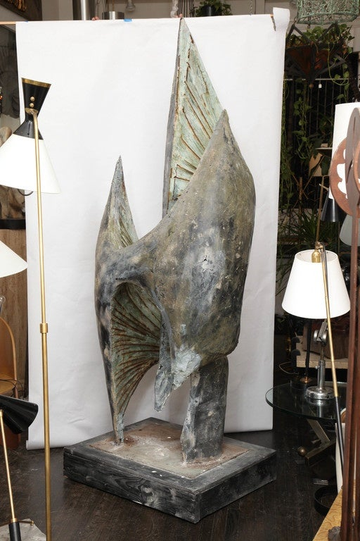 Monumental Abstract Modernist Surrealist Sculpture Signed