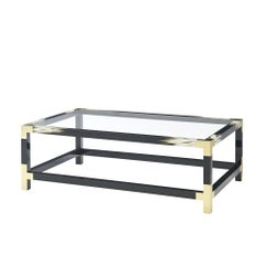 Black Lacquered and Faux Horn Painted Cocktail Table