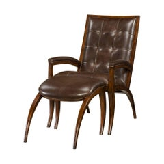 Midcentury Style Mahogany and Leather Armchair