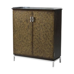 Mahogany and Stainless Steel Mounted Cabinet