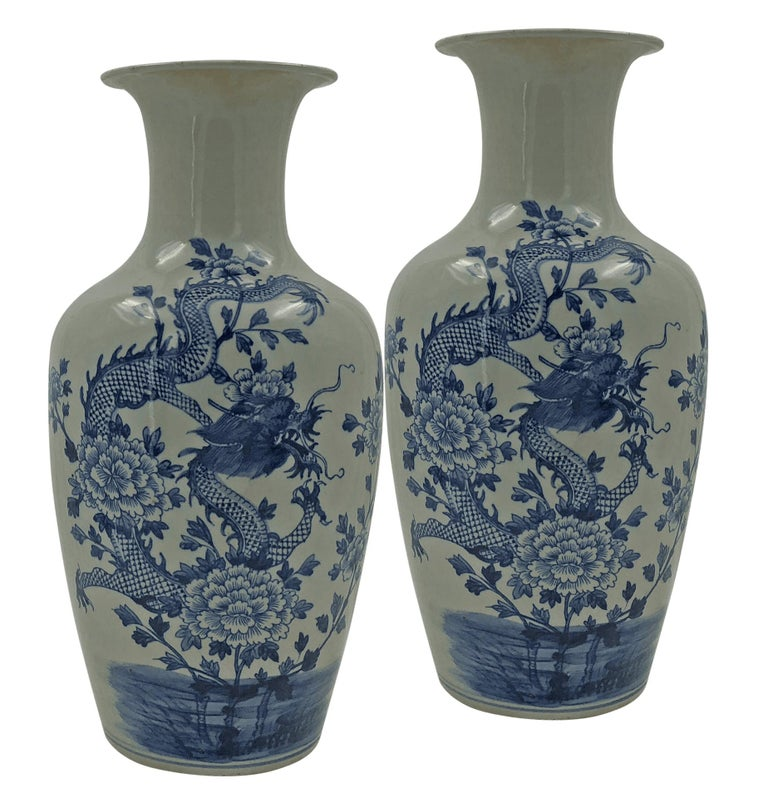 Pair Of Chinese Blue And White Ridged Dragon Vases At 1stdibs
