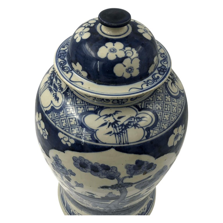 20th Century Pair of Chinese Export Blossom Ginger Jars For Sale