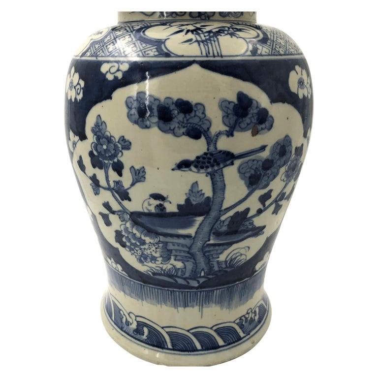 Pair of Chinese Export Blossom Ginger Jars For Sale 1