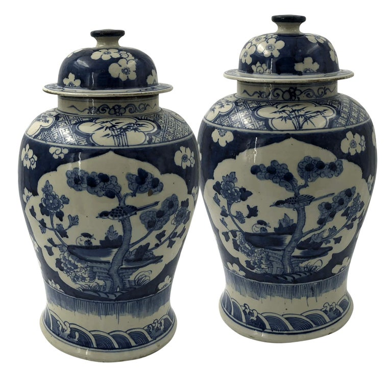 Pair of Chinese Export Blossom Ginger Jars