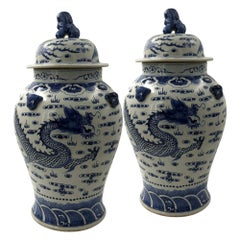 Pair of Large Hand-Painted Dragon Ginger Jars