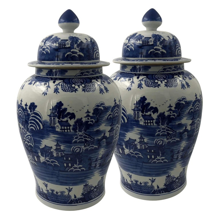Pair of Chinese Blue and White Ginger Jars For Sale