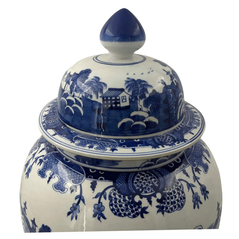 Chinese Export Pair of Chinese Blue and White Ginger Jars For Sale