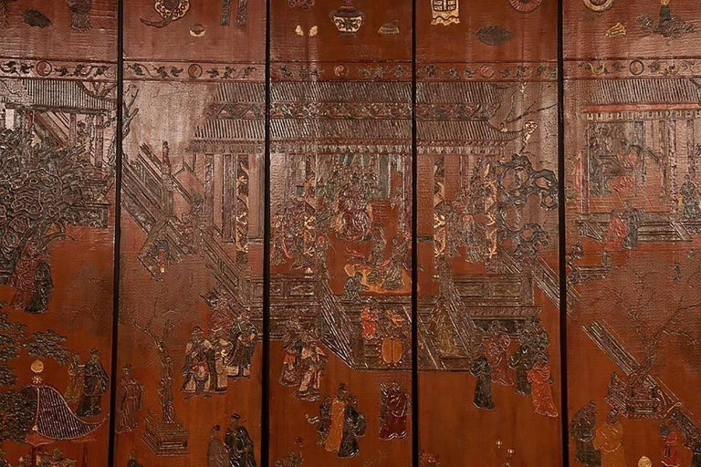 Chinese Export Exceptional and Rare 17th-18th Century Twelve-Panel Chinese Coromandel Screen For Sale