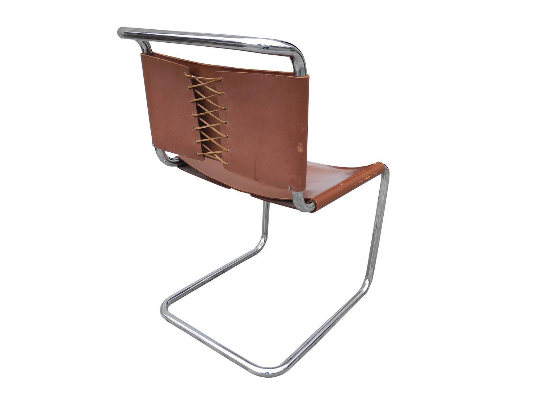 bauhaus design cantilevered tubular metal and saddle leather chair by mart stam for sale at 1stdibs. Black Bedroom Furniture Sets. Home Design Ideas