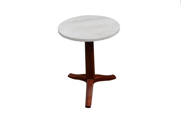 Modern Mahogany and Stone Gueridon Side Table by Edward Wormley for Dunbar For Sale
