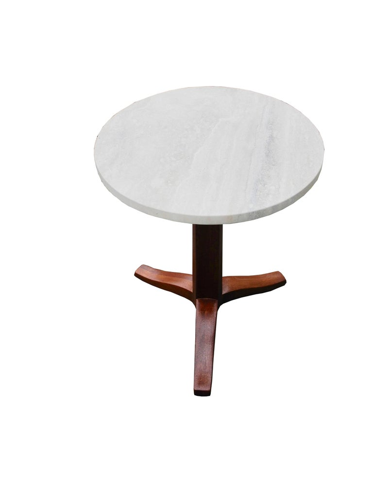 American Mahogany and Stone Gueridon Side Table by Edward Wormley for Dunbar For Sale