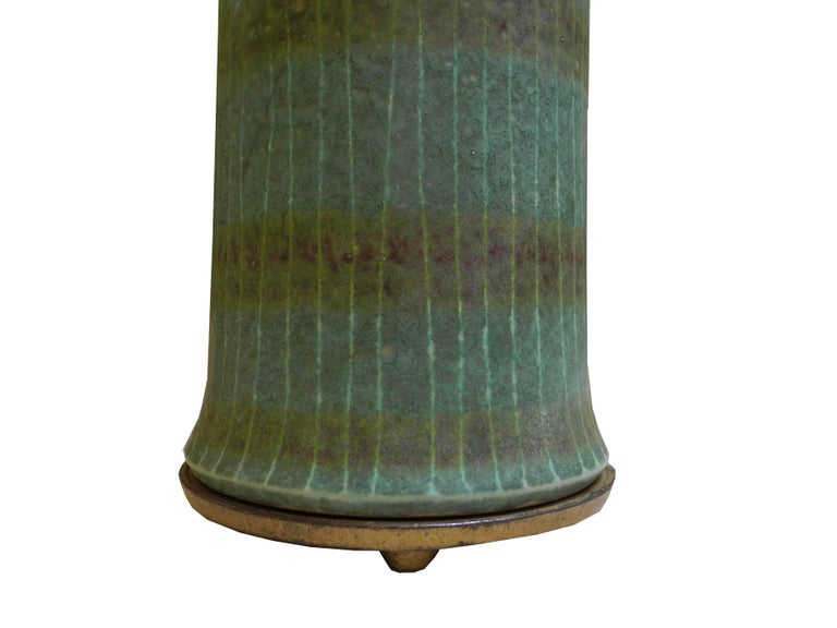 1950s Modern Asian Vessel Style Italian Ceramic Green Table Lamp For Sale 1