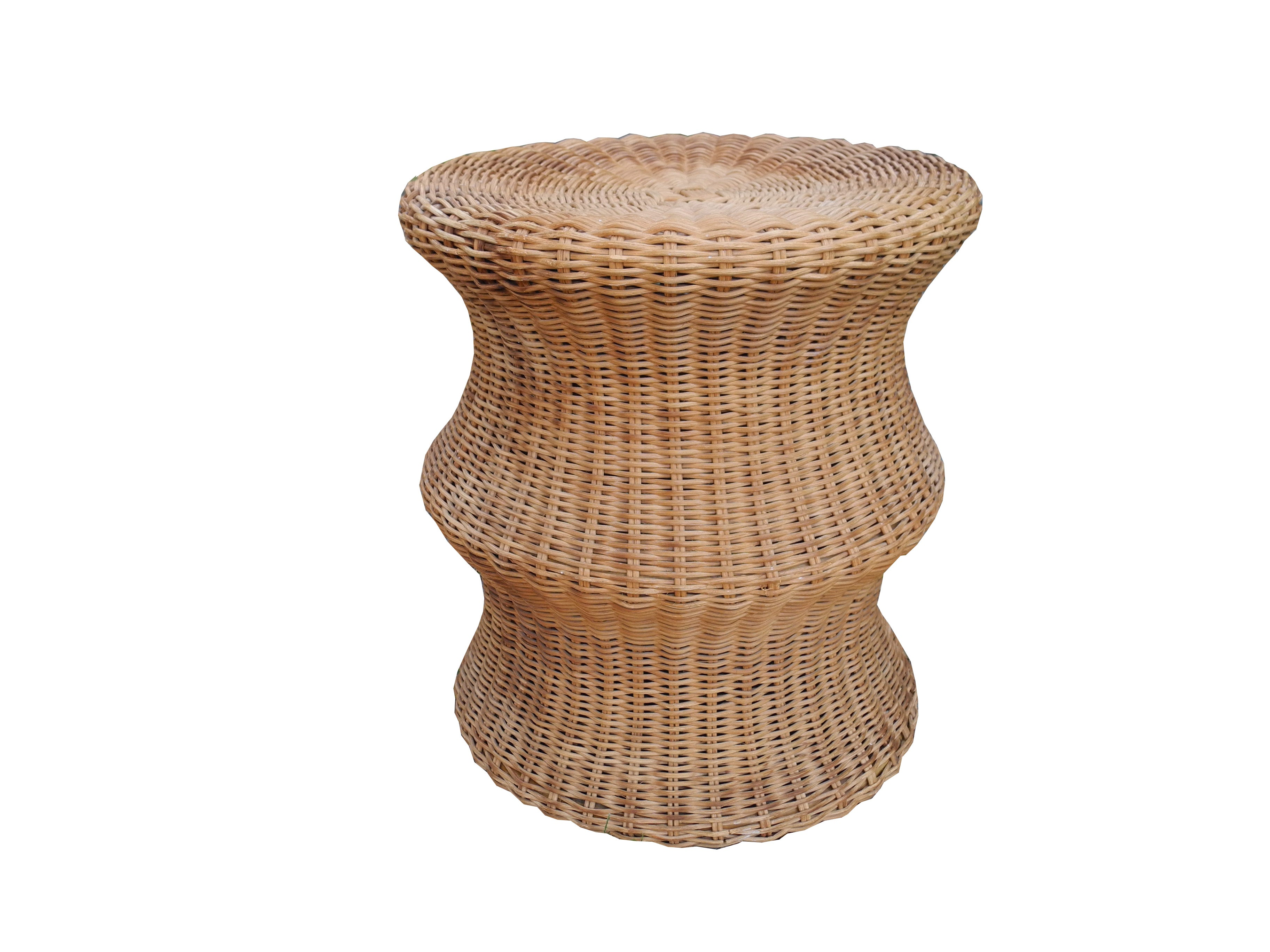 Mid Century Modern Wicker Stool or Side Table by Eero Aarnio for