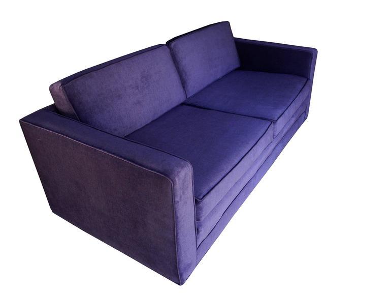 American Mid Century Modern Purple Velvet Sofa / Settee By Charles Pfister  For Knoll For