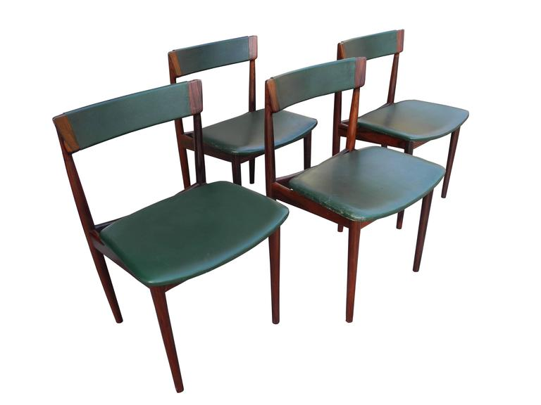 Scandinavian Modern Danish Modern Solid Rosewood and Green Leather Chairs by Rosengren Hansen For Sale