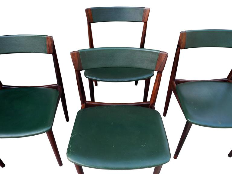 Danish Modern Solid Rosewood and Green Leather Chairs by Rosengren Hansen In Good Condition For Sale In Hudson, NY