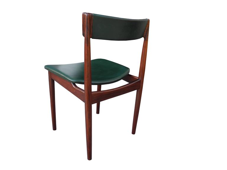 20th Century Danish Modern Solid Rosewood and Green Leather Chairs by Rosengren Hansen For Sale