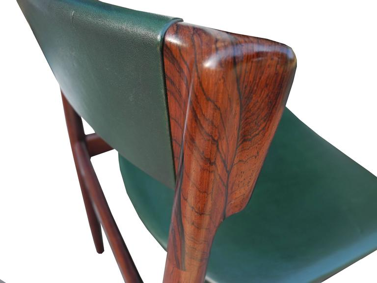 Danish Modern Solid Rosewood and Green Leather Chairs by Rosengren Hansen For Sale 2