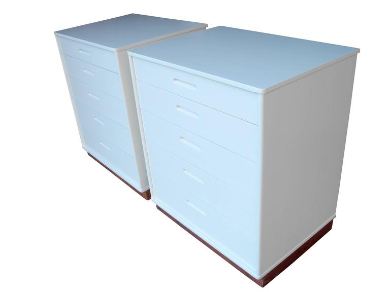 Leather Modern Matching Nightstands or Dressers Designed by Edward Wormley for Dunbar For Sale