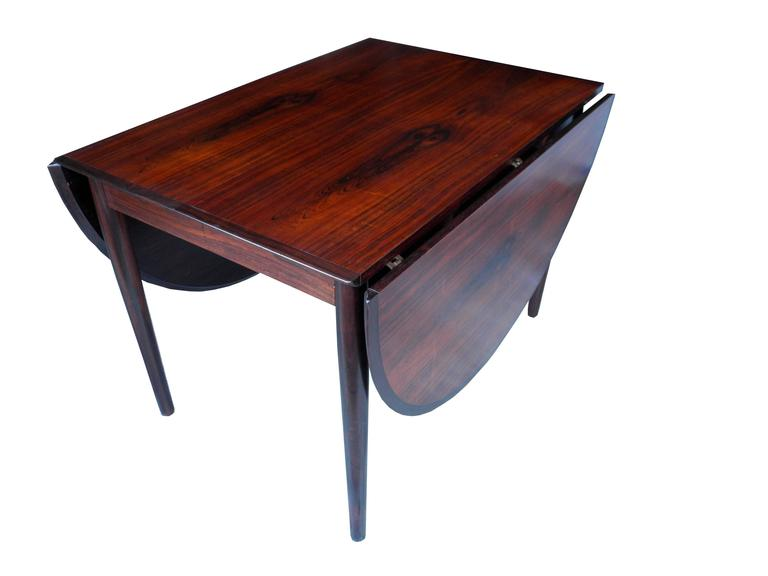 20th Century Danish Modern Drop Leaf Solid Rosewood Dining Table by Henry Rosengren Hansen For Sale