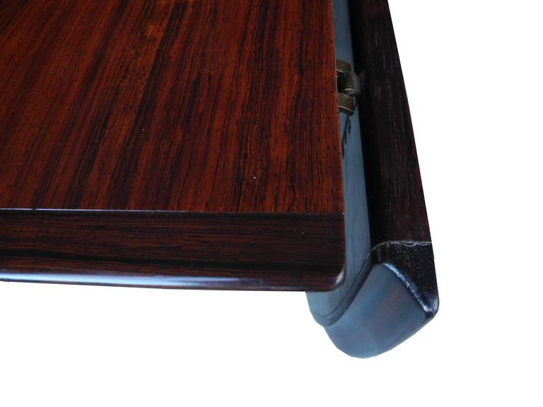 Danish Modern Drop Leaf Solid Rosewood Dining Table by Henry Rosengren Hansen For Sale 1