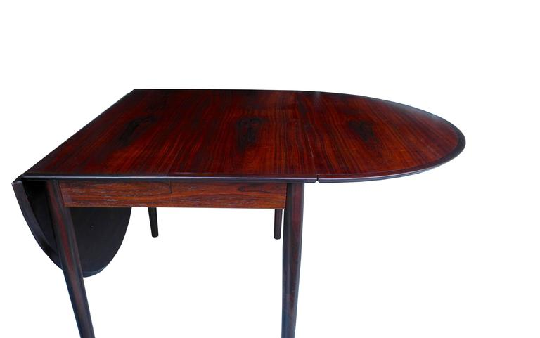 Danish Modern Drop Leaf Solid Rosewood Dining Table by Henry Rosengren Hansen For Sale 2