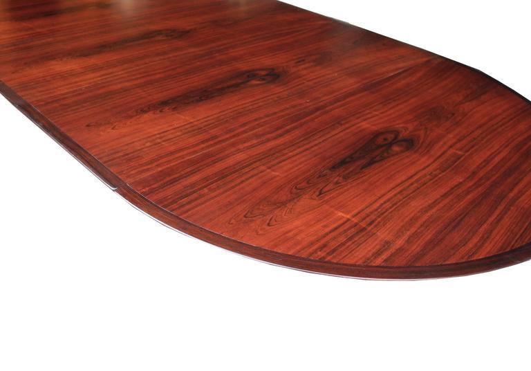 Danish Modern Drop Leaf Solid Rosewood Dining Table by Henry Rosengren Hansen For Sale 3