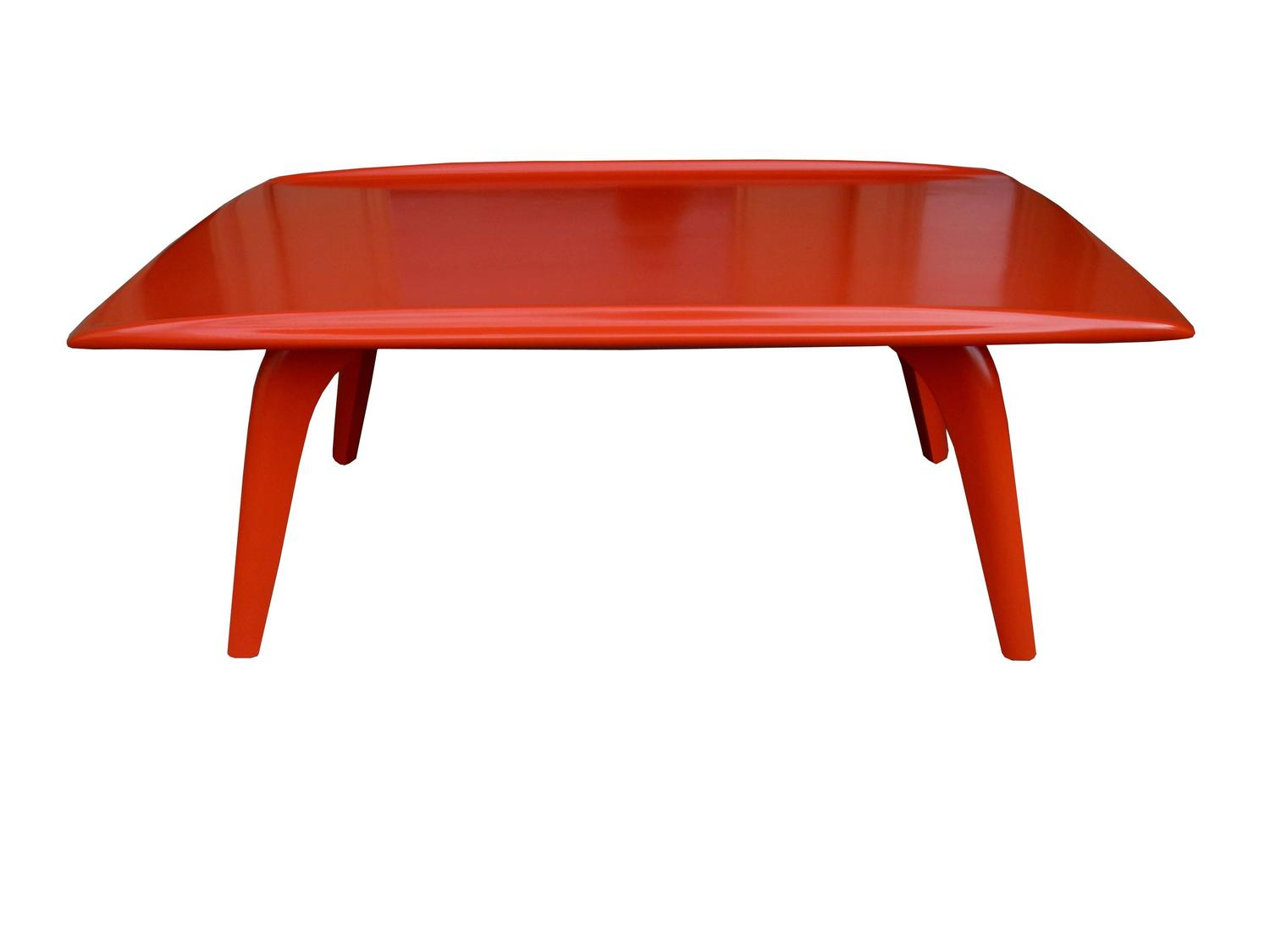Orange Red Mid Century Modern Coffee Table By Heywood Wakefield 1950s At 1stdibs