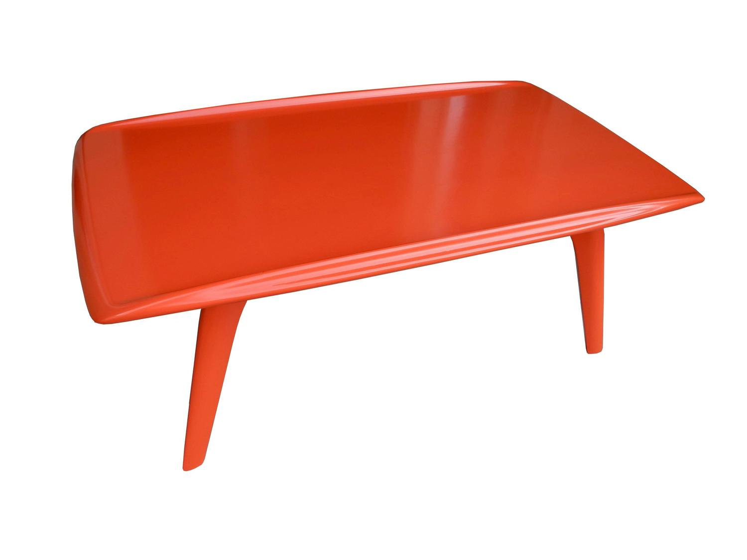 Orange red mid century modern coffee table by heywood for Red modern coffee table