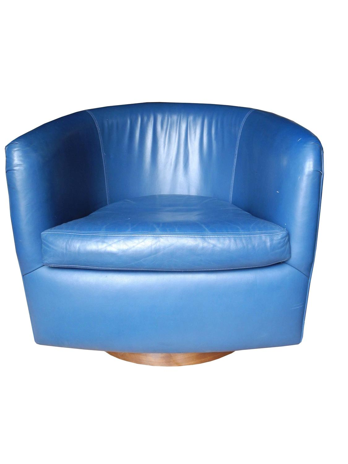 Mid century modern blue leather swivel lounge chairs by milo baughman