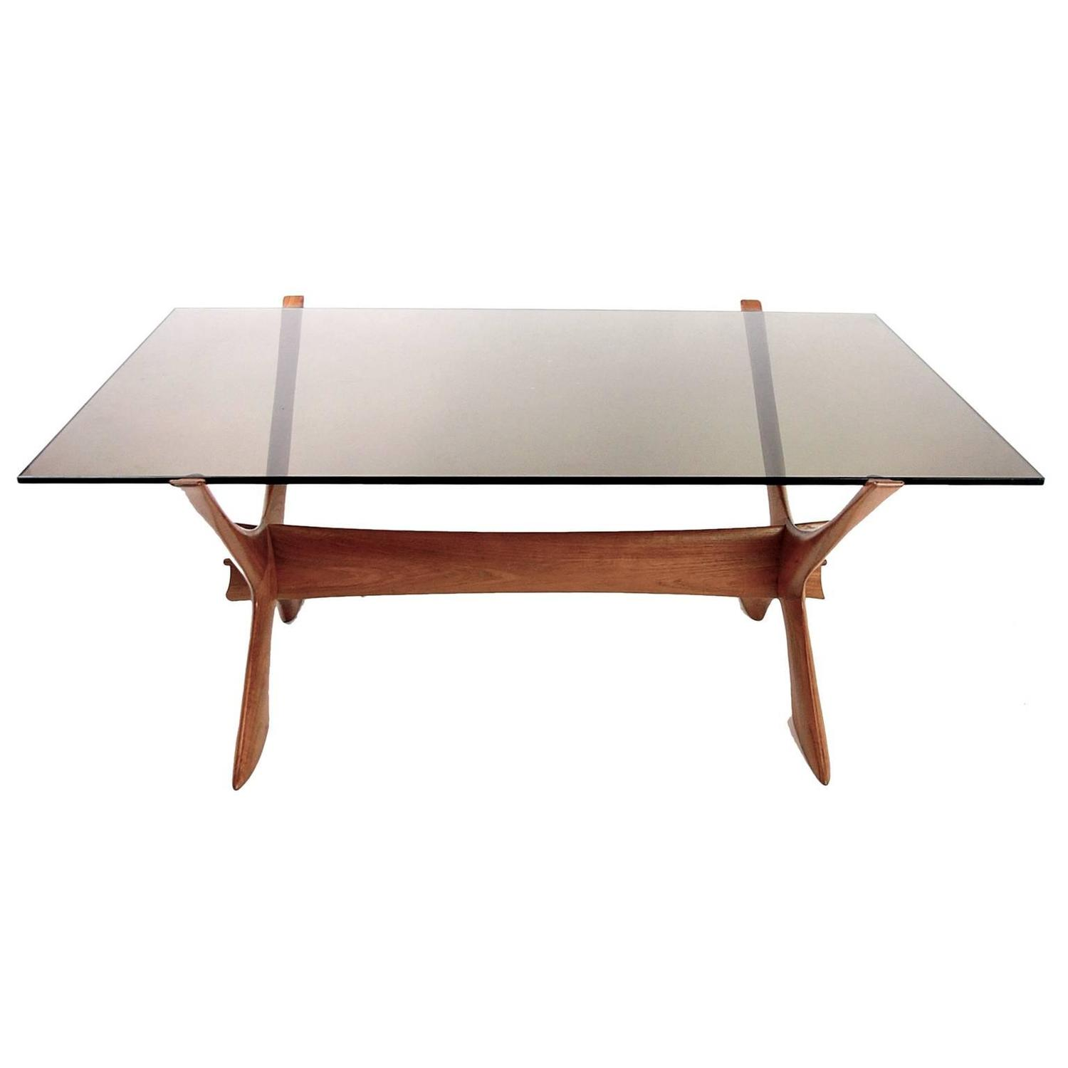 Modern Teak And Smokey Glass X Base Coffee Table By Fredrik Schriever Abeln For Sale At 1stdibs