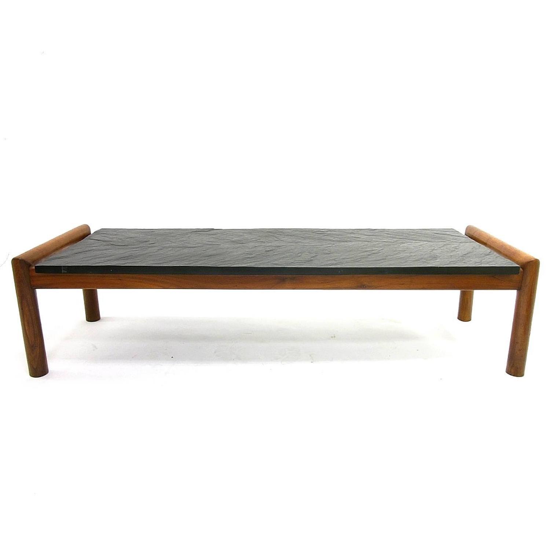 Lane Pearsall Coffee Table: Mid-Century Modern Brutalist Slate And Walnut Coffee Table