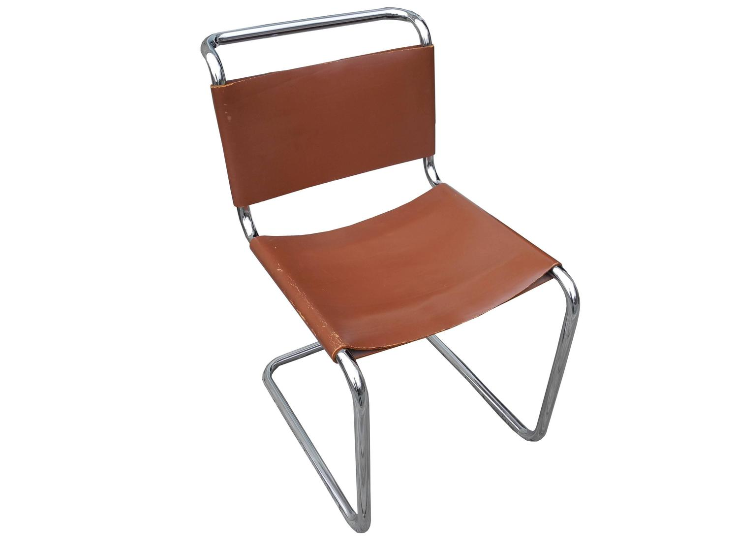 Bauhaus Design Cantilevered Tubular Metal And Saddle Leather Chair By Mart  Stam For Sale At 1stdibs