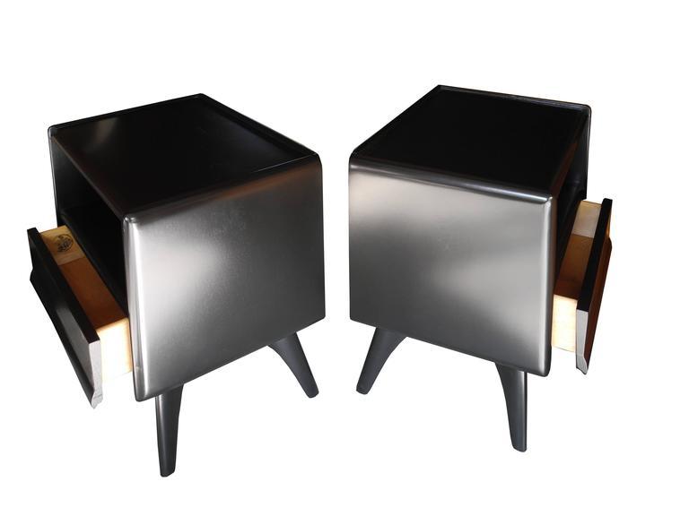 Black Modern Bedside Table: Solid Mid-Century American Modern Black Heywood-Wakefield