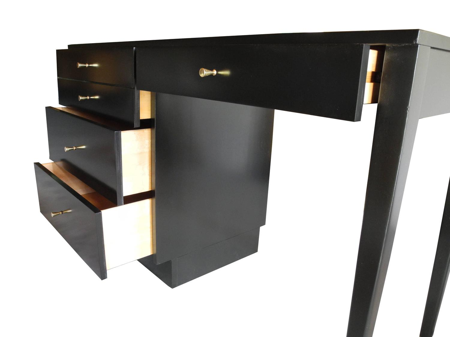 century american modern black maple desk and drawers by paul mccobb