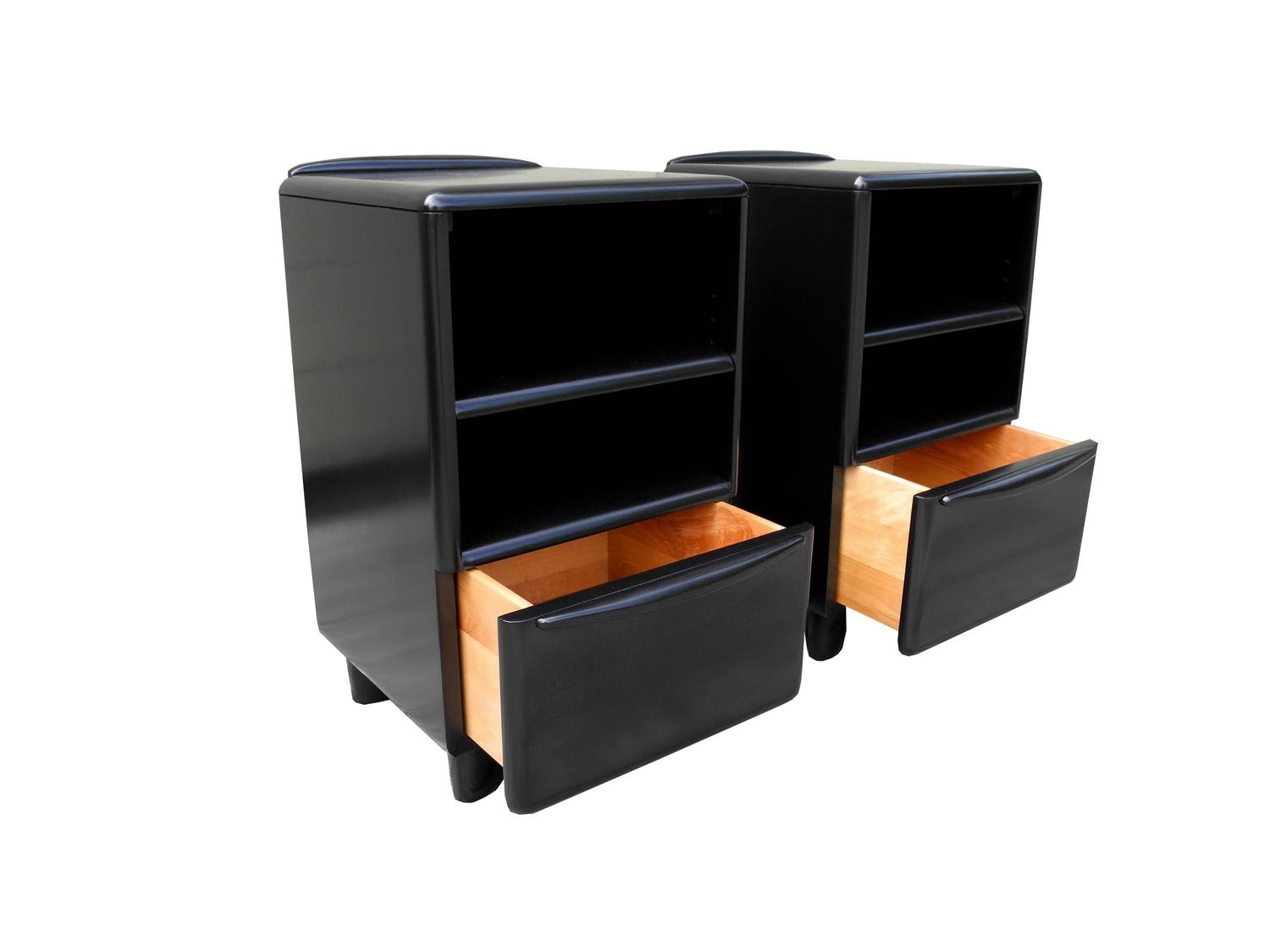 Mid Century Modern Organic Black Heywood Wakefield Nightstands With Drawer For Sale At 1stdibs