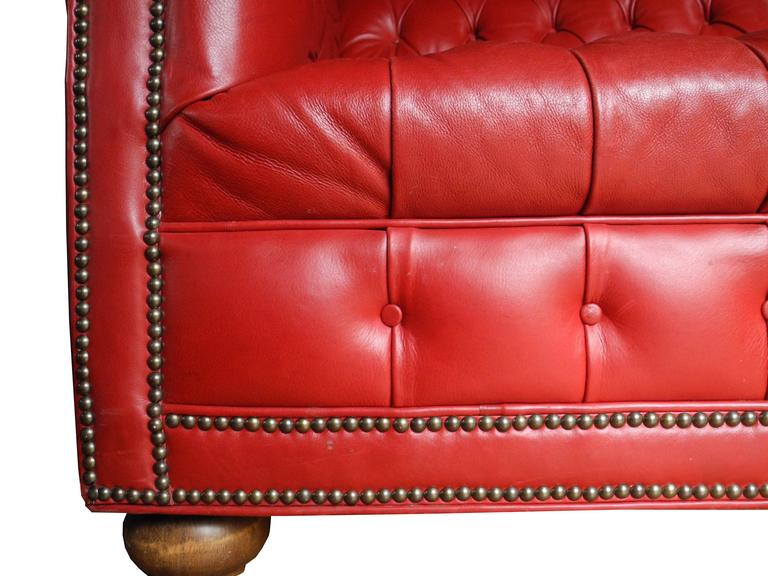 American Mid Century Modern Red Leather Tufted Chesterfield Sofa For Sale