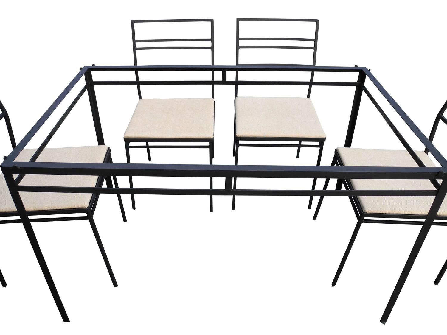 Indoor/Outdoor Wrought Iron Dining Set Of Six Chairs And