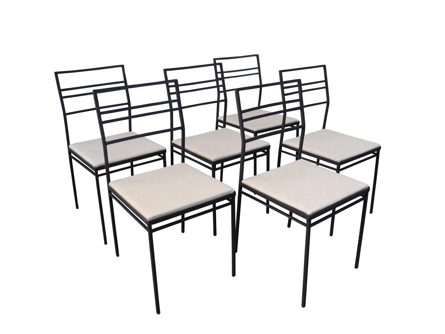 Indoor outdoor wrought iron dining set of six chairs and for Wrought iron dining set outdoor