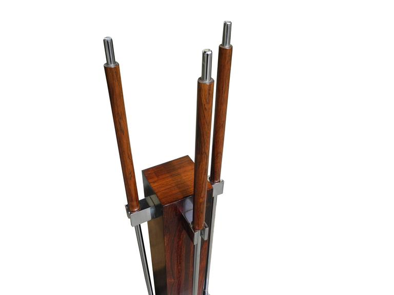 Modern Fire Tool Set in Rosewood and Chrome, attributed to Danny Alessandro For Sale
