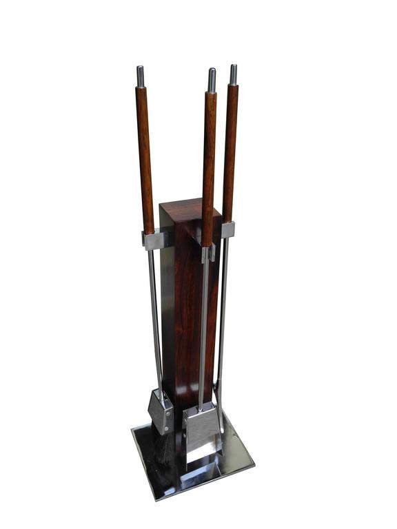 20th Century Fire Tool Set in Rosewood and Chrome, attributed to Danny Alessandro For Sale