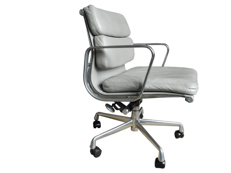 Charles And Ray Eames Low Back Soft Pad Office Or Desk Chair In Light Gray  Leather