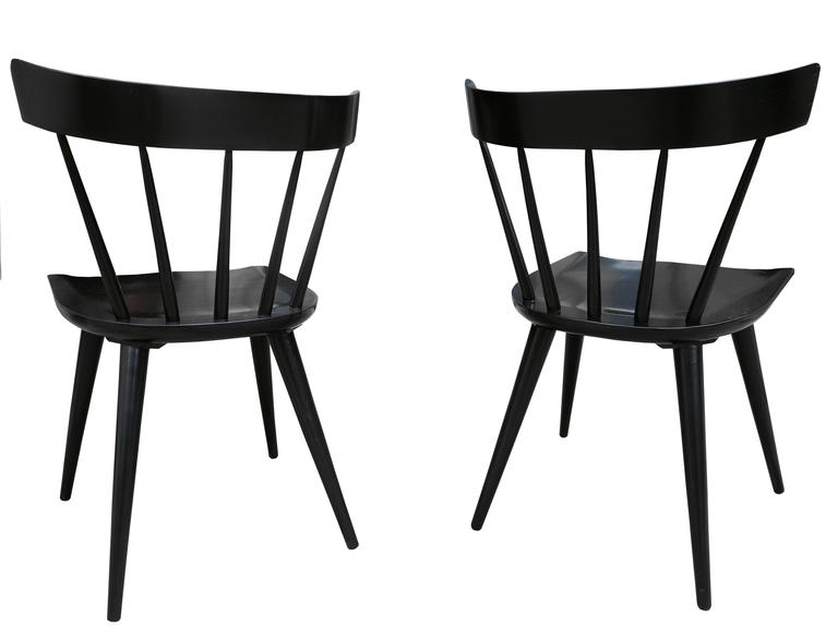 American Set Of Eight Modern Paul McCobb Planner Group Spindle Back Chairs  In Black For Sale