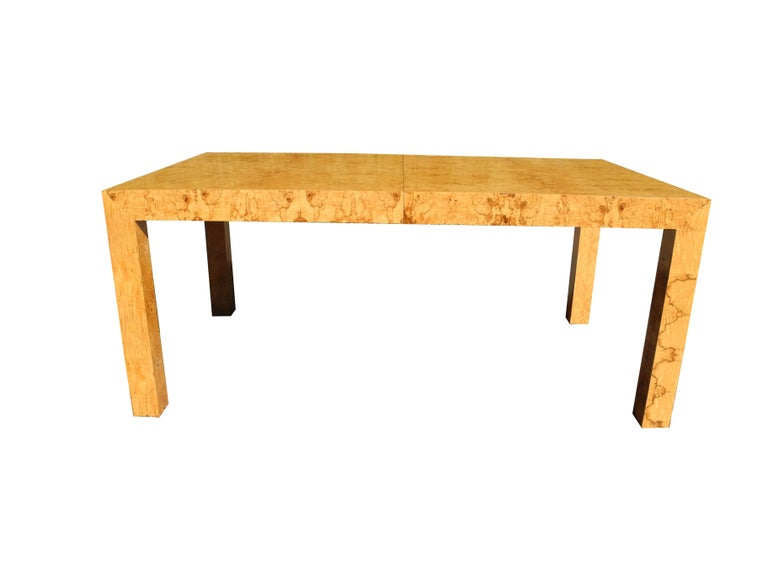 Modern Burled Wood Parson Style Dining Table by Milo  : BaughmanDining1master from www.1stdibs.com size 768 x 576 jpeg 22kB