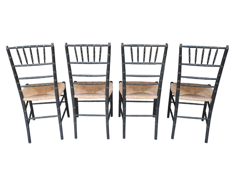 Romantic Set of Four Faux Bamboo Wood and Rush Decorative Chairs For Sale