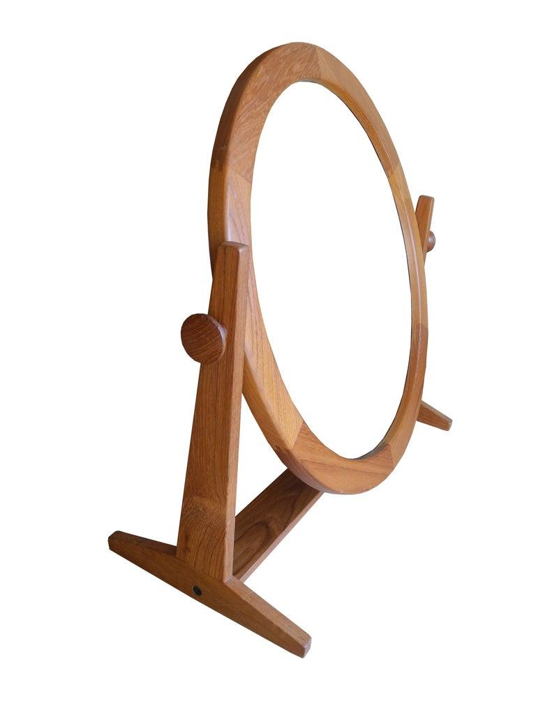 20th Century Danish Modern Tilting Teak Table Mirror by Pedersen & Hansen, 1960s For Sale