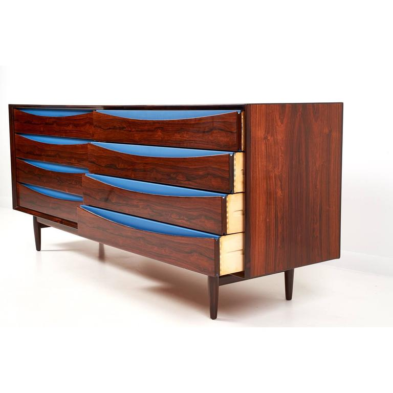 Danish Triennale Rosewood Eight Drawer Double Chest by Arne Vodder for Sibast