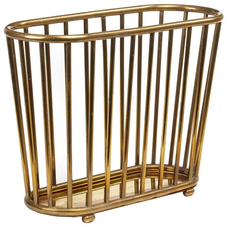 Italian Brass 'Dowel' Basket Magazine Stand for Gump's